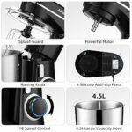 AlfaBot Robot Pâtissier, Robot Pétrin Batteur 10 Vitesses, 3 Crochets, Faible Bruit, Robot de Cuisine Multifonctionnel avec Pare-éclaboussures, 4,5L 800W