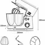 Robot pâtissier Mélangeur de Stand 4.3L électrique | Machine de malaxage de Whisk de Bureau avec Une Gamme d'accessoires de mélange | pour la Cuisson de Cuisine à Domicile (Color : Black)
