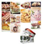 Mixeur de cuisine électrique – Mixeur de pâte à pain – Avec bol en acier inoxydable de 7 l – Mélangeur – Crochet à pâte et fouet – Protection anti-éclaboussures pour crème de gâteau de cuisine