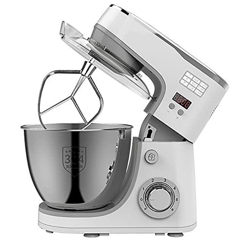 Robot Pâtissier 1000W, Bol 6 Vitesses Robot Pétrin Multifonction, Batteur, Fouet, Crochet, Robot De Cuisine (5L, Blanc)