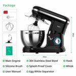 ROZI Robot Pâtissier Multifonction, 1500W 4,5L Robot Cuisine à Bruit Bas avec Batteur, Crochet, Fouet, 6 Modes de Vitesses avec Bol en Acier Inoxydable