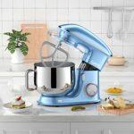 Camic Robot Pâtissier Multifonctions, Pétrin 8L 1500W Puissant, Robot de Cuisine avec Crochet Pétrisseur, Batteur, Fouet à Fil, Couvercle, Compatible Lave-vaisselle (8 L, bleu)