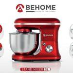 Behome Robot pâtissier professionnel 5 L rouge | 6 vitesses, 2 fouets et 1 crochet pour pétrir