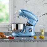 Facelle Robot Pâtissier,1500W,6 vitesses,bol en acier inoxydable de 6L,avec Crochet Pétrisseur,Batteur,Fouet à Fil,protection contre les éclaboussures,pour la cuisson,les gâteaux,les biscuits (bleu)