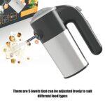 Mélangeur à main électrique, Mini Portable Ordinateur de poche Acier inoxydable Fouet électrique, 5 vitesses Batteur à oeufs électrique avec 4 batteurs pour fouetter les blancs d'œufs Gâteaux Brownies