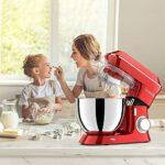 DOBBOR Robot Pâtissier 1500W, 8,5L Robot de Cuisine Multifonction avec Fouet, Batteur, Crochet, Bol d'Acier Inoxydable, 6 Vitesses Silencieux Batteur Électrique, Compatible Lave-vaisselle. (Red)