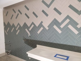 Creative install for bathroom tile