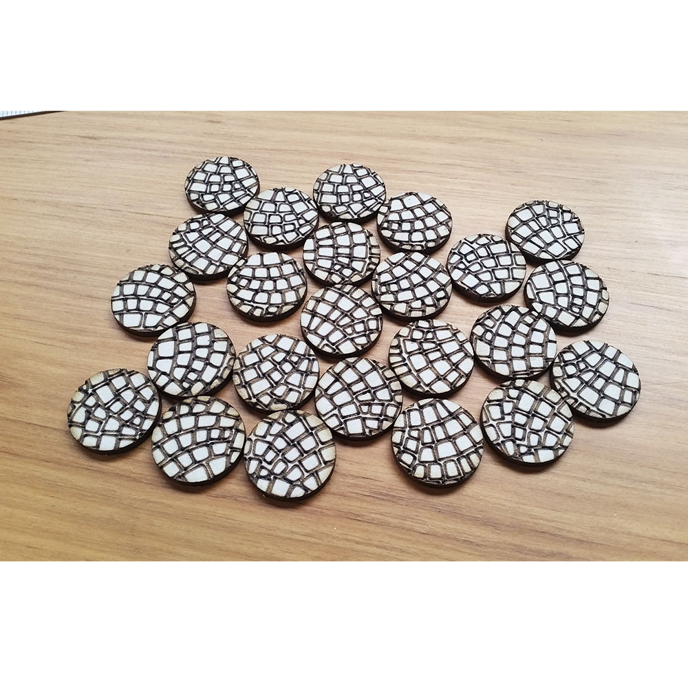 cobblestone french fan pattern 25mm round bases for wargaming
