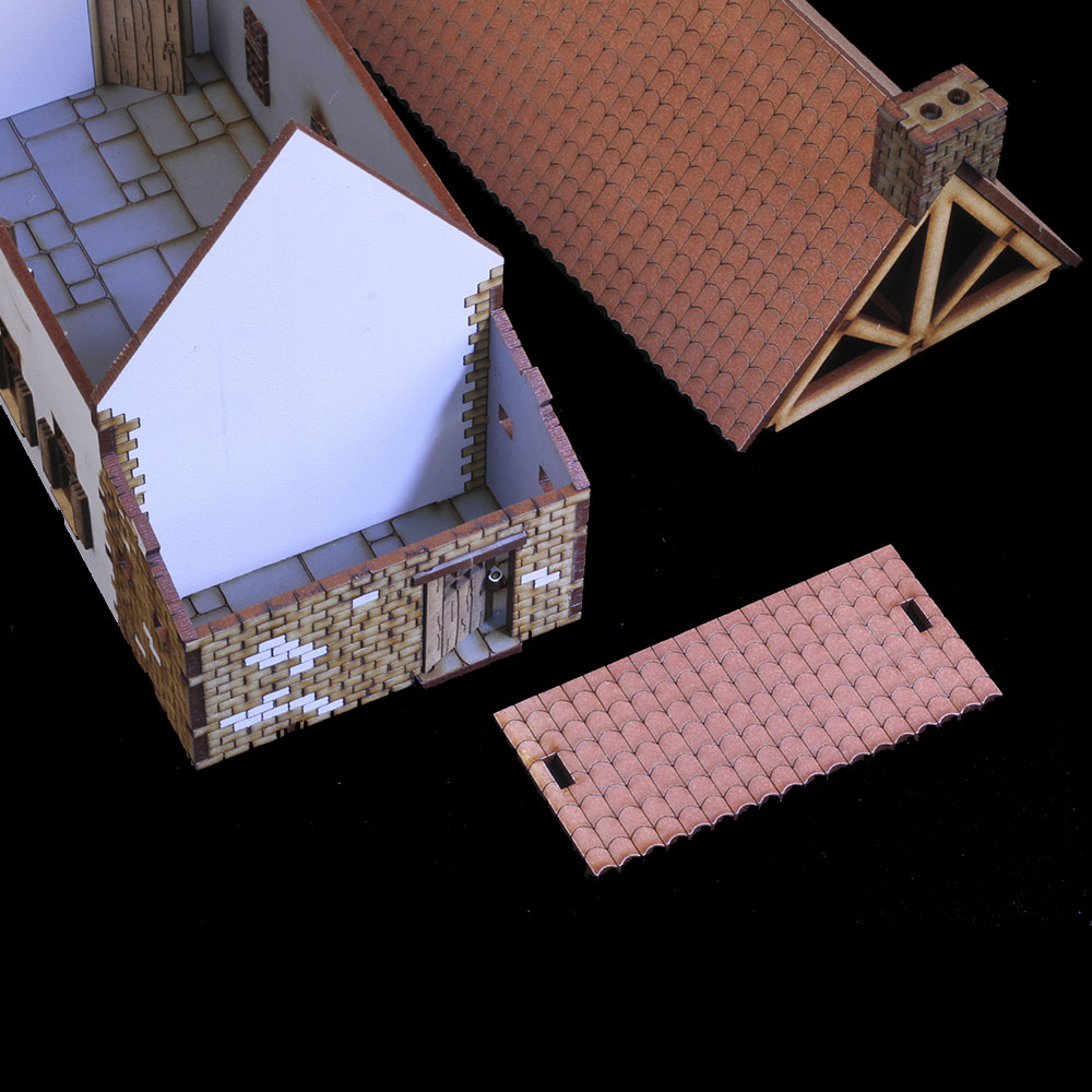 removable roof on battle of waterloo 28mm wargame terrain building