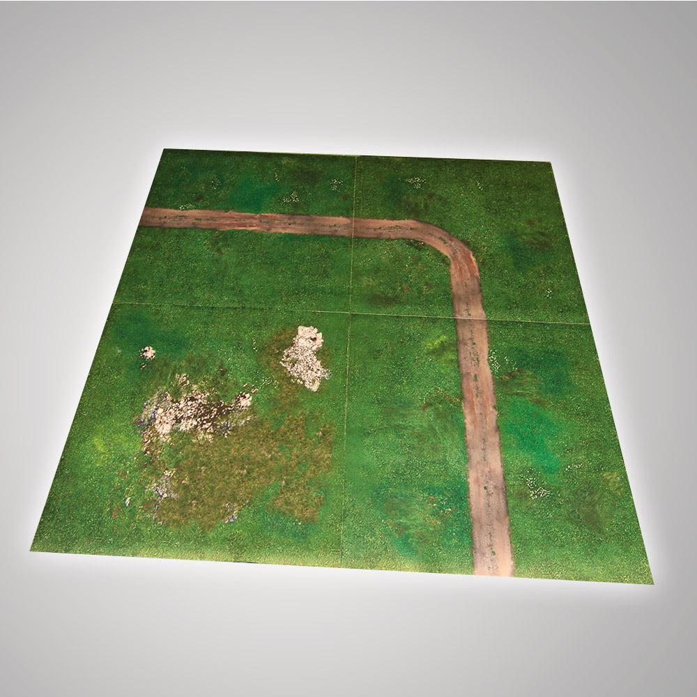 modular battle mat with grass and dirt roads