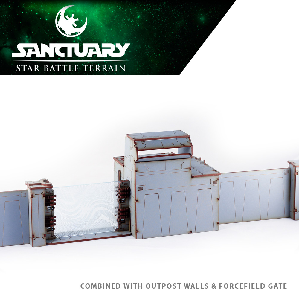 guard tower and wall set for star wars legion imperial terrain