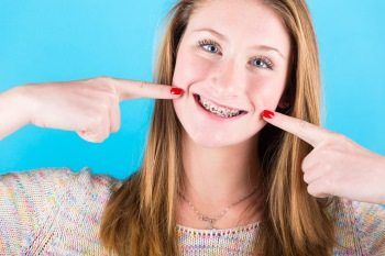 Caring for teeth with braces.