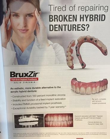 Broken hybird dentures causing headaches.