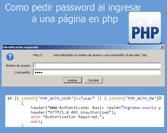 Como pedir password al ingresar a una página en php