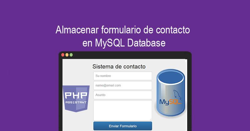 Guardar formulario de contacto en MySQL