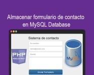 Almacenar formulario de contacto en MySQL Database