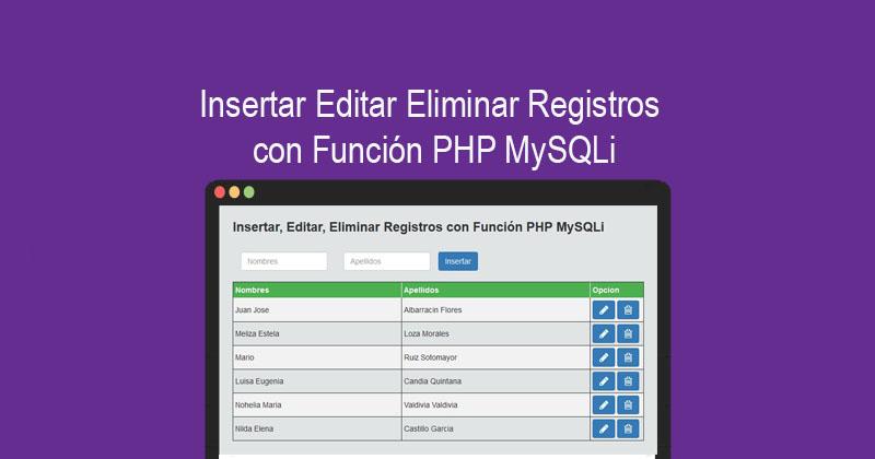 Descargar CRUD Insertar Editar Eliminar con PHP