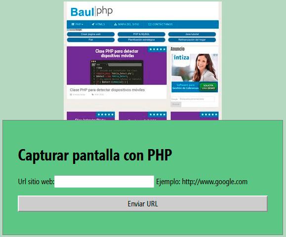 Mostrando captura de pantalla con PHP