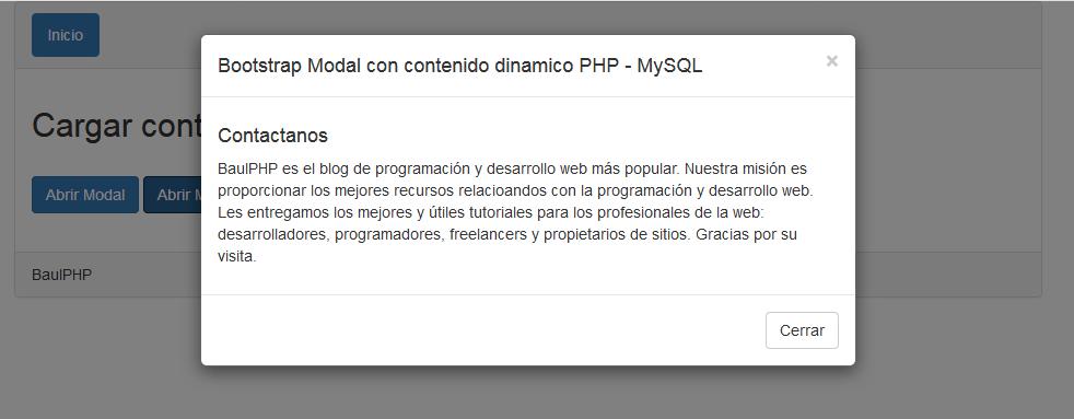 Descargar contenido dinámico en bootstrap modal PHP