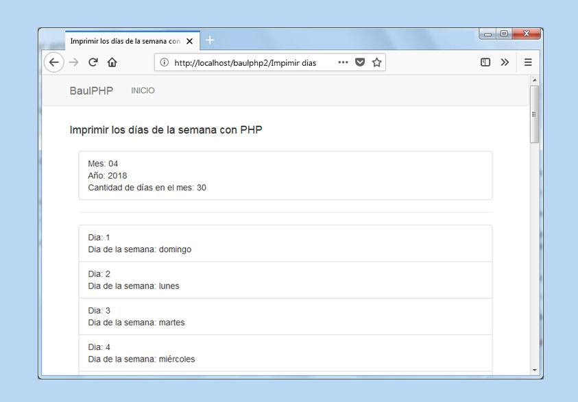 Descargar imprimir los días de la semana con PHP