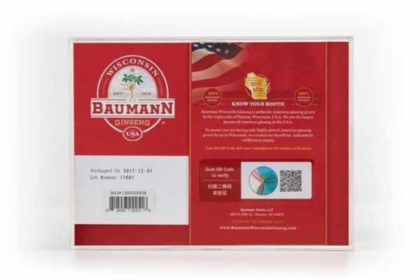 Wisconsin Ginseng Large Root Short (6 oz) Gift Box Back
