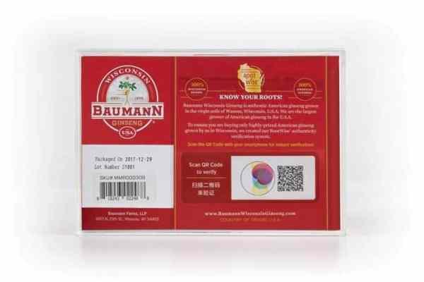 Wisconsin Ginseng Medium Root Medium (3oz) Gift Box Back