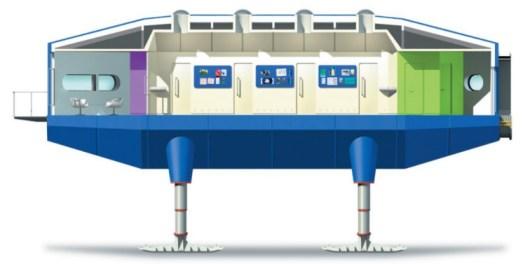 Schlafmodul der Forschungsstation Halley VI im Vertikalschnitt