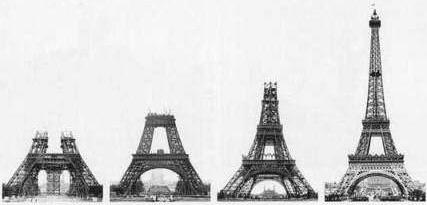 4 Bilder von Bauphasen während der Konstruktion vom Eiffelturm in Paris