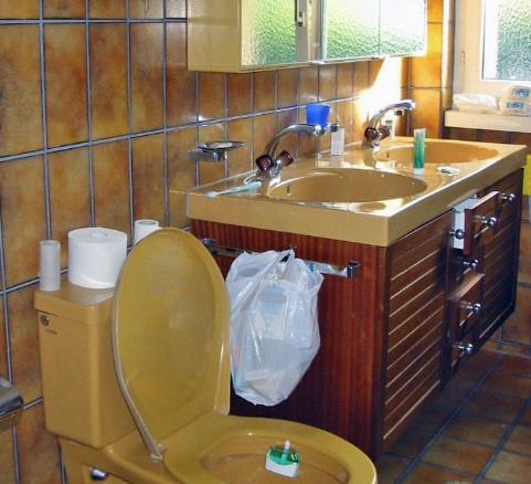 Altes Badezimmer mit alten braunen Fliesen