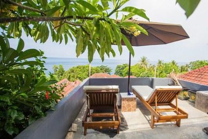 Aussicht von der Terrasse einer Luxus-Ferienwohnung