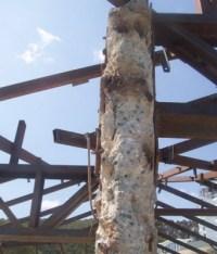 Abgeplatzter Beton an Stütze Säule