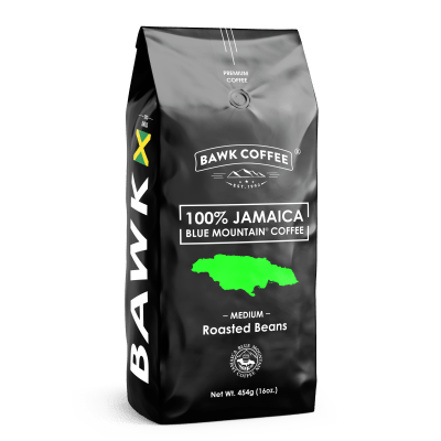 BAWK Coffee 100% Jamaica Blue Mountain Coffee 16oz Roasted Beans