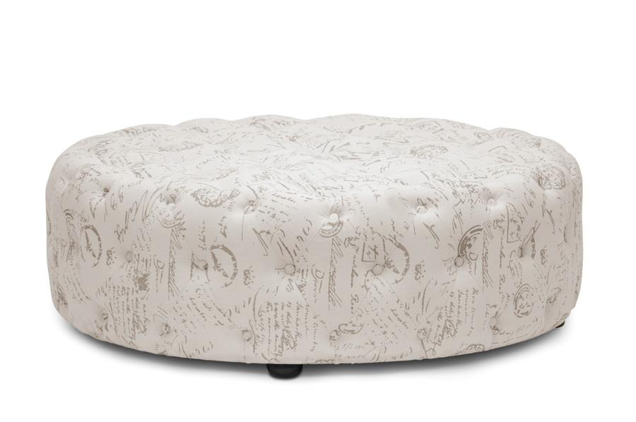 baxton studio cardiff beige script print modern tufted ottoman affordable modern furniture in chicago