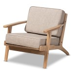 Baxton Studio Sigrid Mid Century Modern Light Grey Fabric Upholstered Antique Oak Finished Wood Armchair
