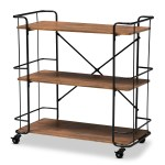 Baxton Studio Neal Rustic Industrial Style Black Metal And Walnut Finished Wood Bar And Kitchen Serving