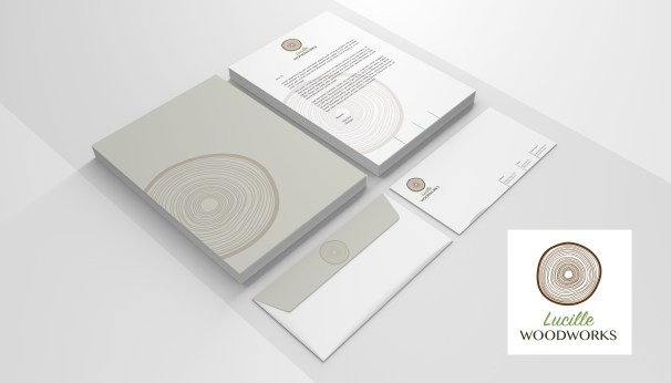 Lucielle Woodworking Color Logo Mockup on stationary with letter size and envelopes with custom graphics by Bayard Heimer