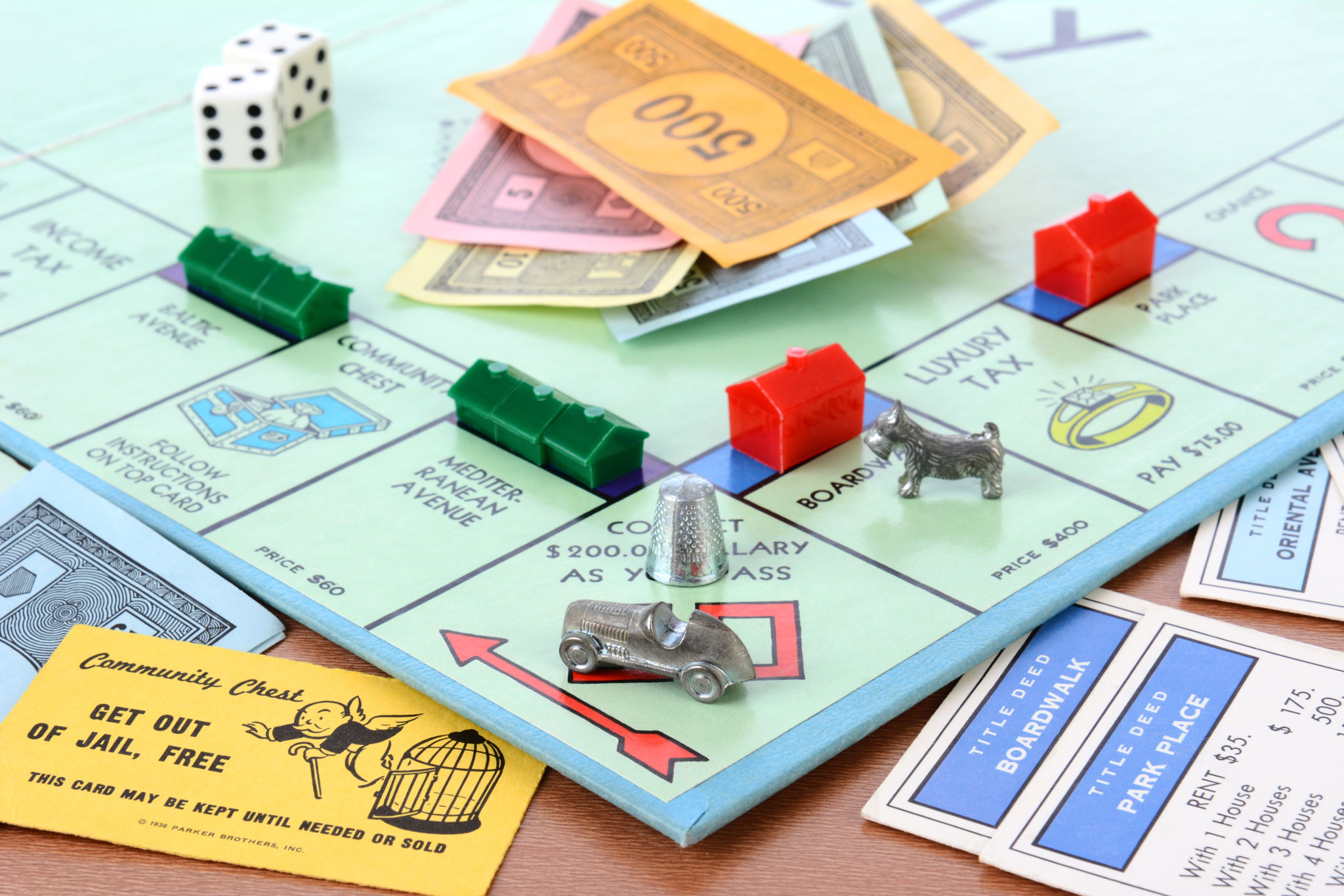 close up of monopoly board for playing in the bunker post election 2016