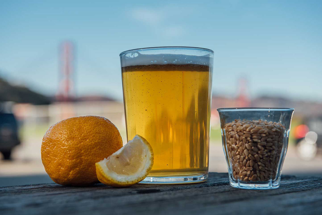 Beer against the SF skyline.