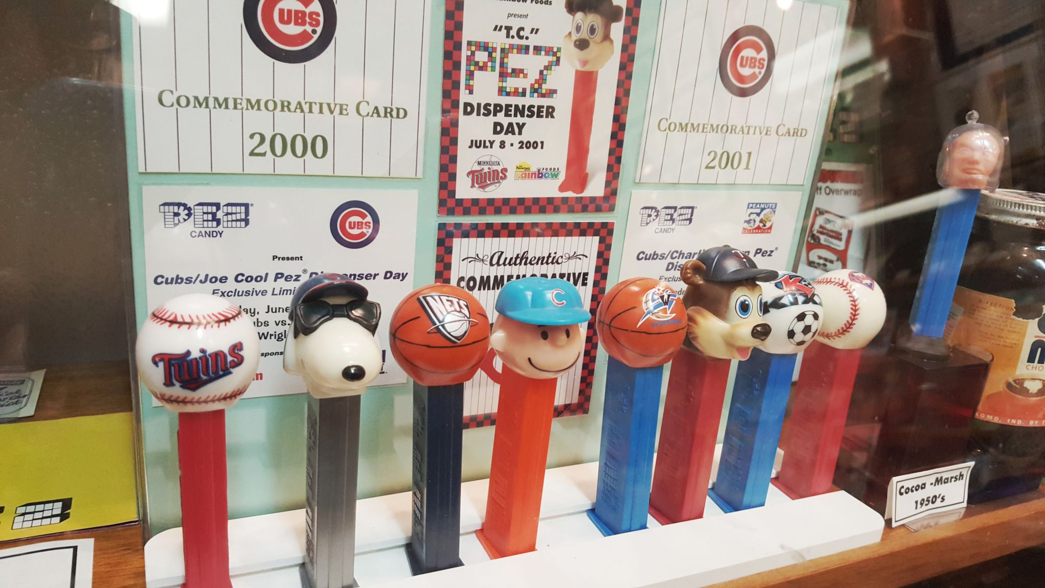 Peanuts characters and sports mascots at the Burlingame Pez Museum