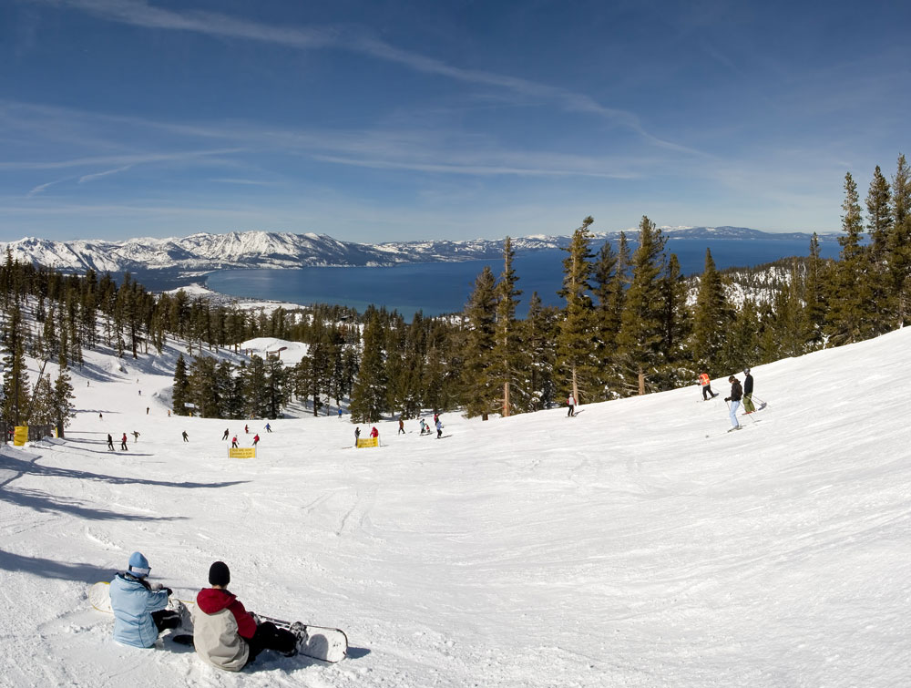Snowboarders at Lake Tahoe