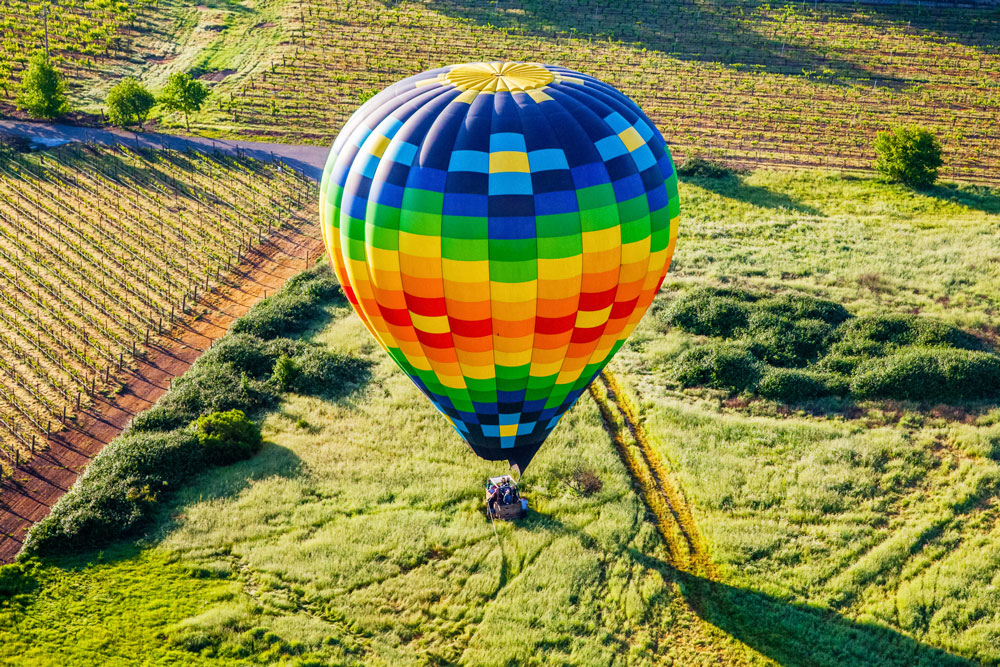 Hot air balloon landing in Napa.