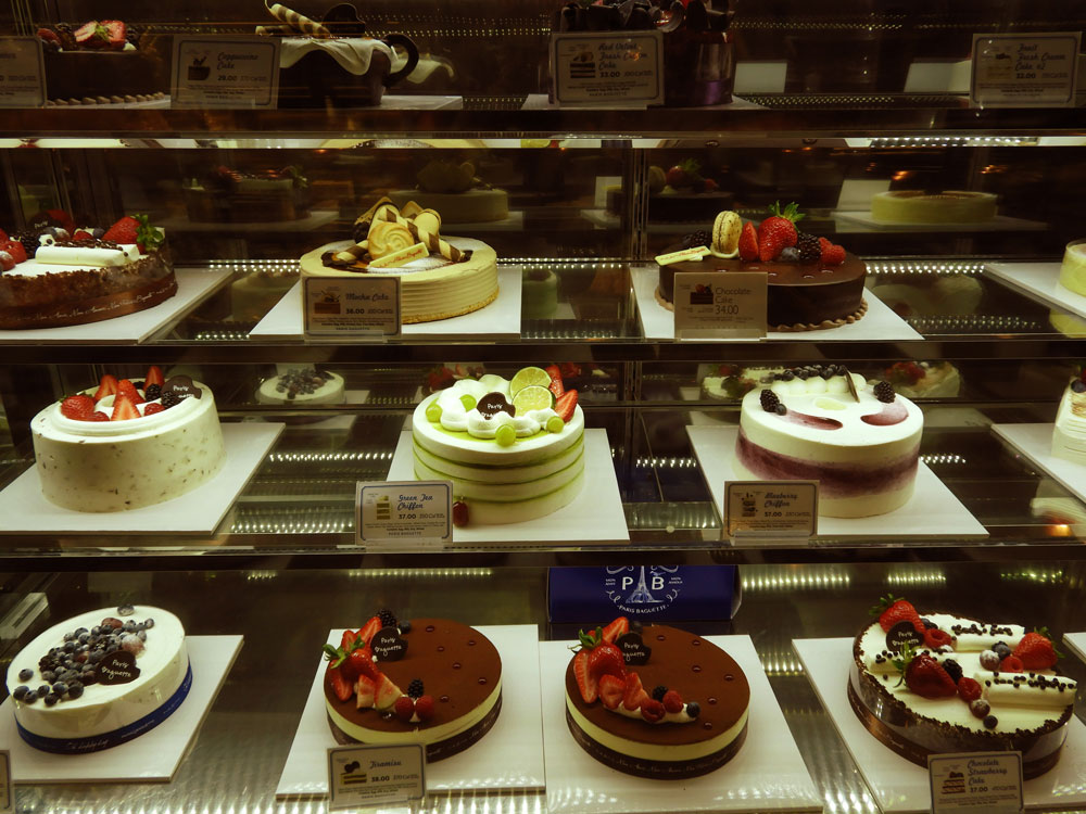 The cakes at Paris Baguette, a South Bay Korean bakery.