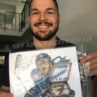Tomas Hertl smiling, displaying Bay Area Hockey Repair art print