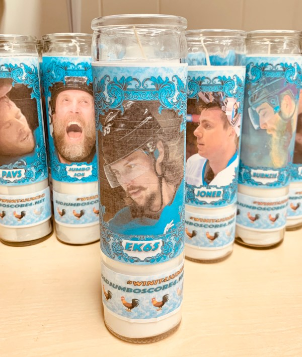 Playoff candle featuring Erik Karlsson