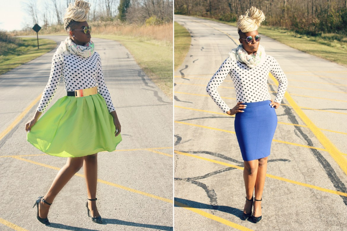 Shop The Look- Polka-dot Crop Top Midi Skirt and Bodycon Skirt