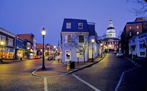 Evening view of downtown Annapolis, MD