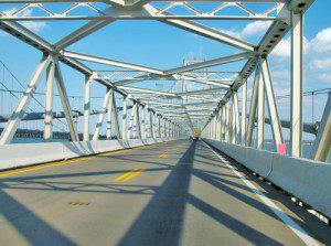 Driver's view of the Bay Bridge road
