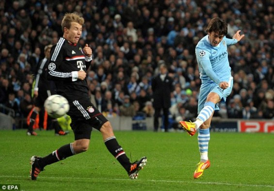 Manchester City's David Silva scoring the first goal against Bayern Munich