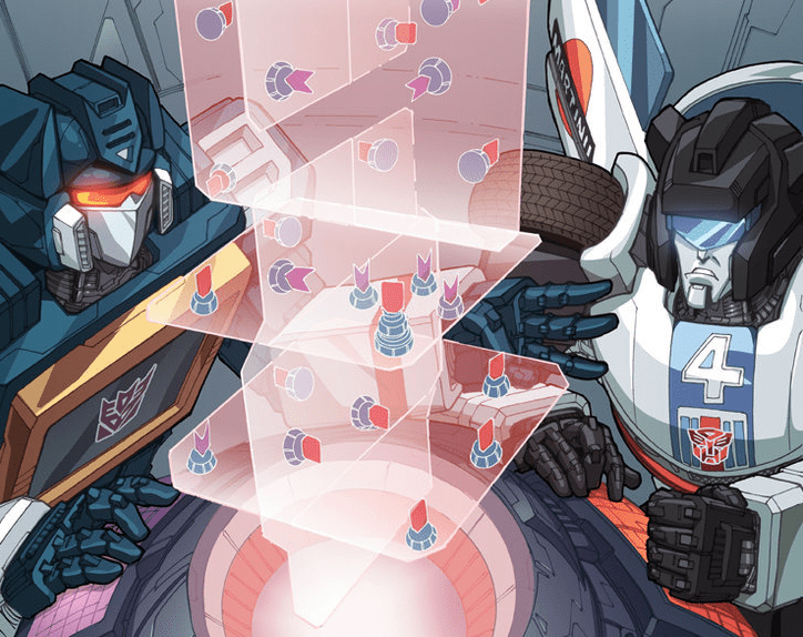 Soundwave and Jazz playing casually