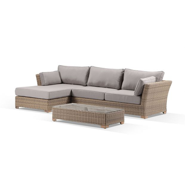 coco outdoor wicker chaise lounge with coffee table in sunbrella cushions